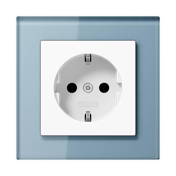 JUNG_AC_GL_blue-grey_socket