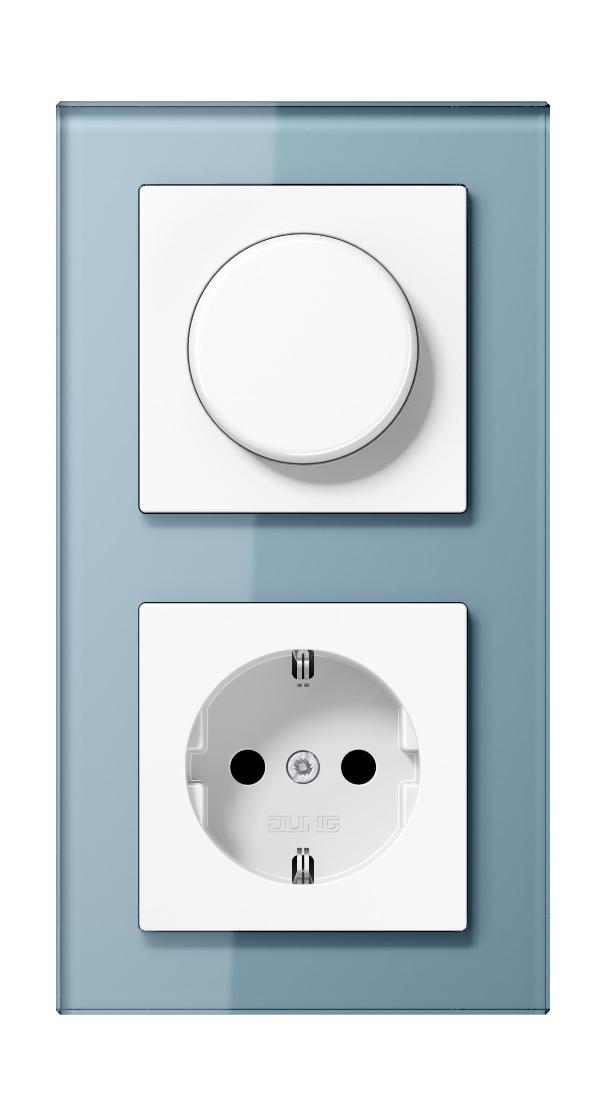 JUNG_AC_GL_blue-grey_dimmer-socket