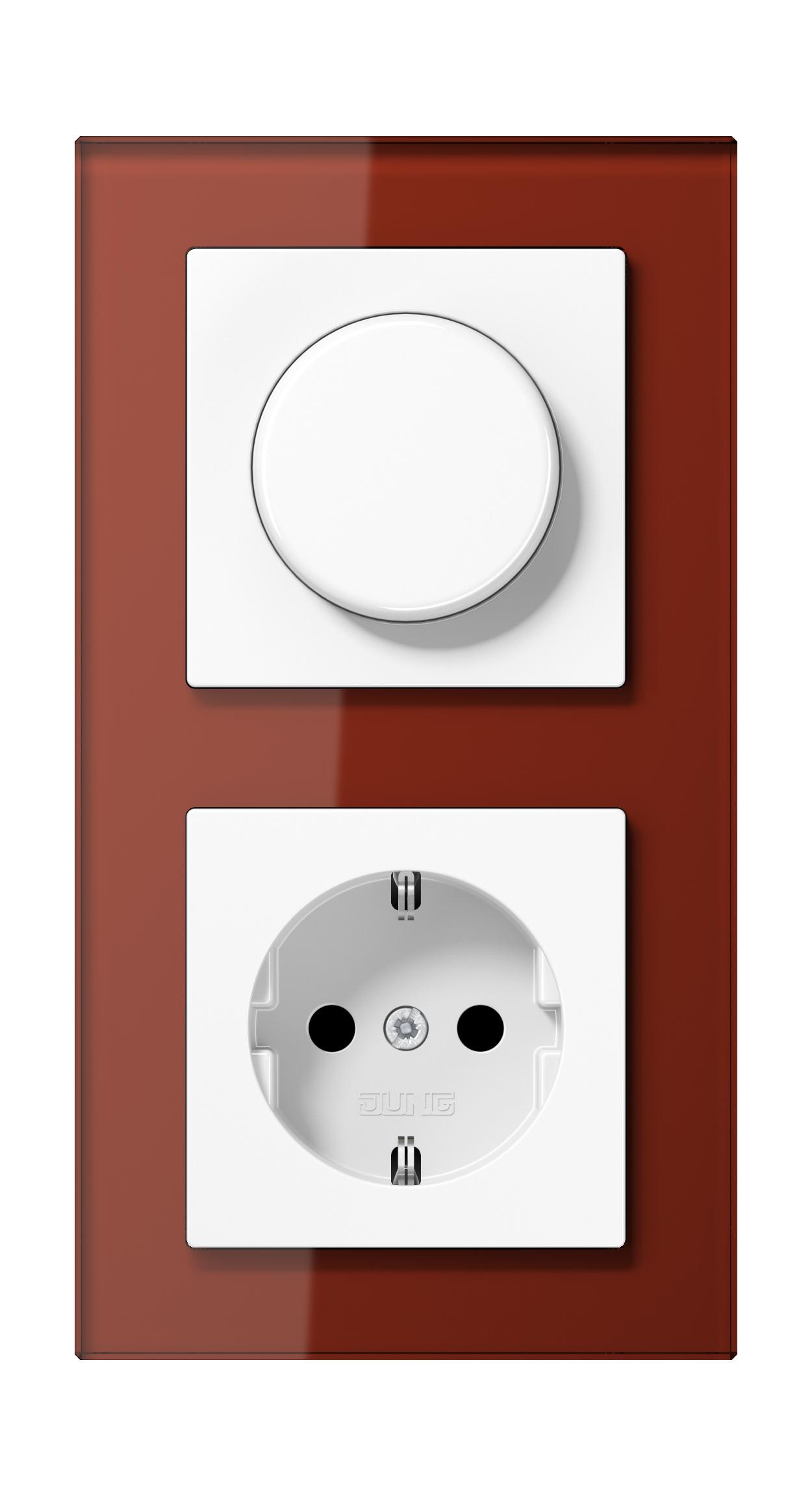 JUNG_AC_GL_red_dimmer-socket