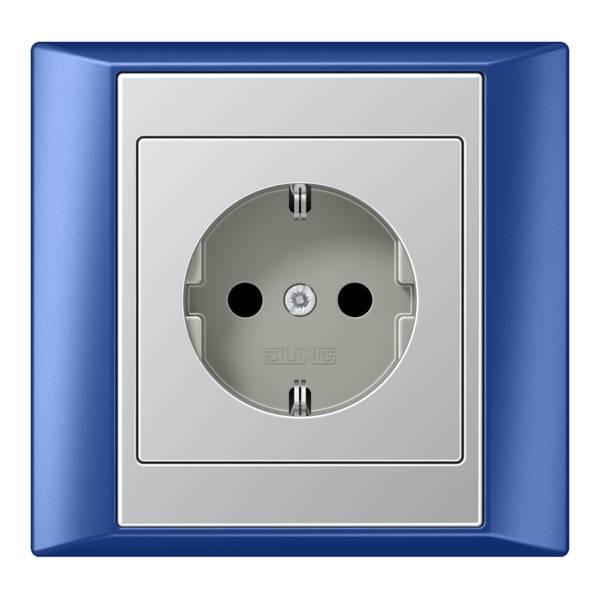 JUNG_Aplus_blue_aluminium_socket