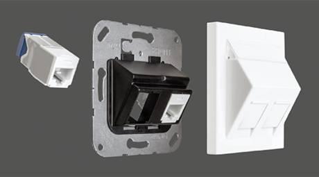 Montageadapter, Die neuen Jung Montageadapter 30° sind mit Modular Jacks verschiedener Hersteller kompatibel.